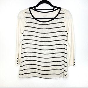 Ann Taylor LOFT polka dot stripe layered blouse XS